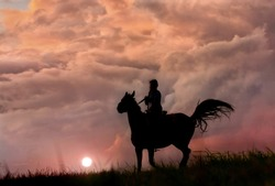 Wild horse and girl like film, silhouette on colorful storm clouds