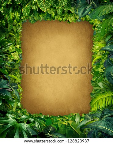 Wild jungle border frame with rich tropical green plants as ferns and palm tree leaves found in southern hot climates as south America Hawaii and Asia with framed parchment copy space center.