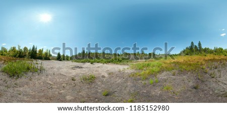 Wild landscape in Canada. Forest trees in summer with a desert field of grass and bushes in front. Row of trees on the horizon and blue sky in background. Large panoramic landscape. HDR image