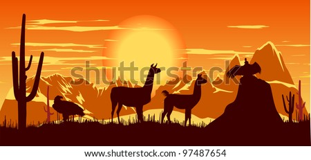 Wild llama, eagle and vulture against the backdrop of a hot sunset