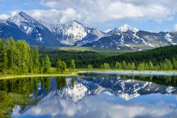 Wild mountain lake in the Altai mountains, summer landscape, beautiful reflection