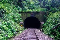 Wild railway tunnel in the jungle in Karnataka state. India