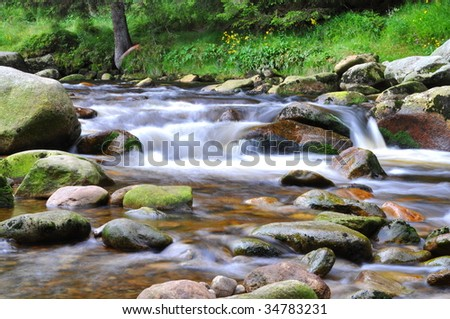 wild river Vydra in Bohemian forest