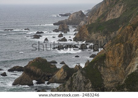 Wild rocky shoreline of Point Reyes National Seashore