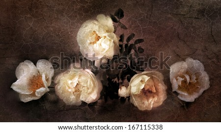 Wild roses in old oil painting style