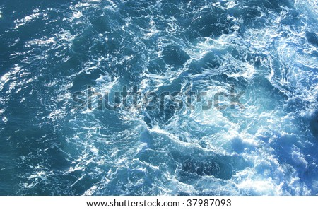 Wild sea aquatic motion from birds eye view