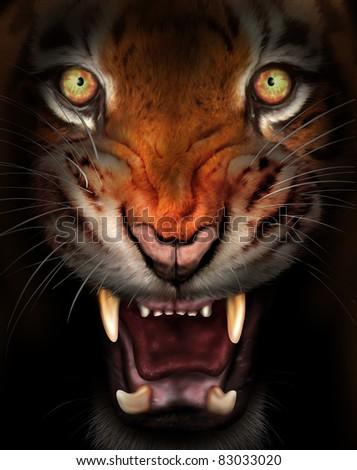Wild tiger emerging from the dark shadows