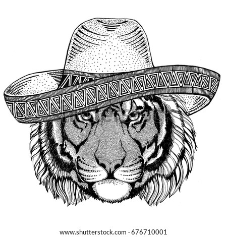 Wild tiger Wild animal wearing sombrero Mexico Fiesta Mexican party illustration Wild west