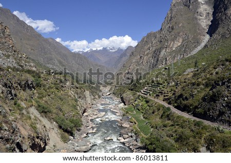 Wild Urubamba river flowing through valley with high snow capped mountains and blue sky in the background