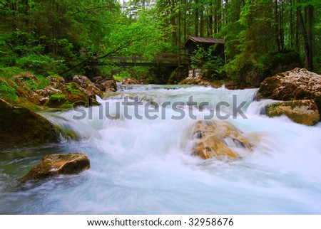 Wild water river in the German Alps