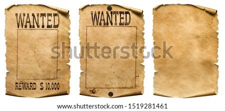 Wild west wanted posters set isolated on white Stockfoto ©