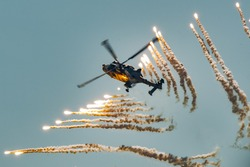 Wildcat military helicopter flying