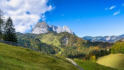 Wilder Kaiser mountain range in autumn 2020
