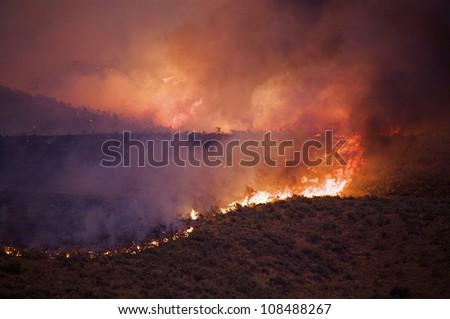 Wildfire burning Sagebrush on the Colville Indian Reservation, Washington