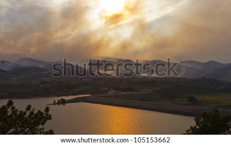 Wildfire threatens homes during the High Park Fire in northern Colorado June 2012 - stock photo