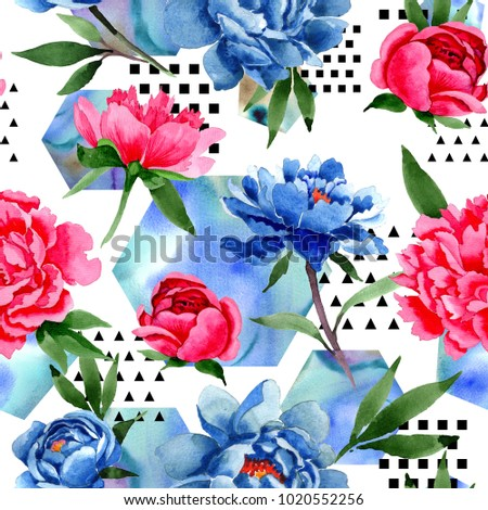 Wildflower red and blue peonies flowers pattern in a watercolor style. Full name of the plant: peony. Aquarelle wild flower for background, texture, wrapper pattern, frame or border.