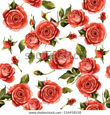 Shutterstock Wildflower rose flower pattern in a watercolor style isolated. Full name of the plant: red rose,hulthemia, rosa. Aquarelle wild flower for background, texture, wrapper pattern, frame or border.