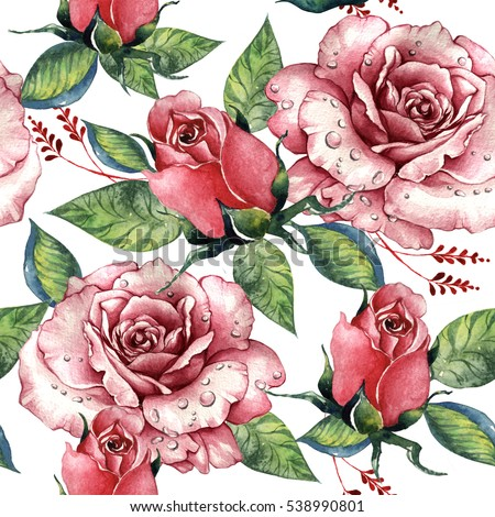Shutterstock Wildflower rose flower pattern in a watercolor style isolated. Full name of the plant: rose, hulthemia, rosa. Aquarelle wild flower for background, texture, wrapper pattern, frame or border.
