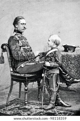 "Wilhelm, Crown Prince of Germany, with his son. Engraving by  Baranowski. Published in magazine ""Niva"", publishing house A.F. Marx, St. Petersburg, Russia, 1888"