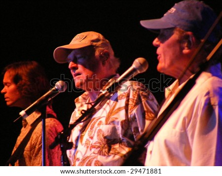 WILKESBORO, NC - AUG 14: Bruce Johnston, Mike Love and Scott Totten of the Beach Boys band perform onstage at Doc Watson Theatre in Wilkesboro, NC  August 14, 2008.