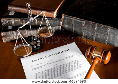 Will concept Scale, old book, and gavel
