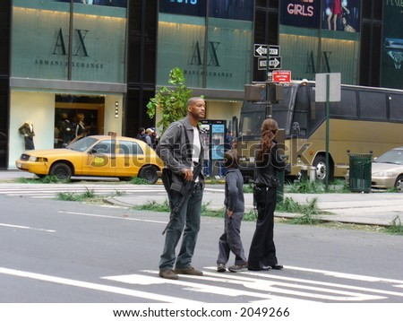 Will Smith and Alice Braga on the set of I am Legend in New York City(visible Noise at Full Size) - stock photo