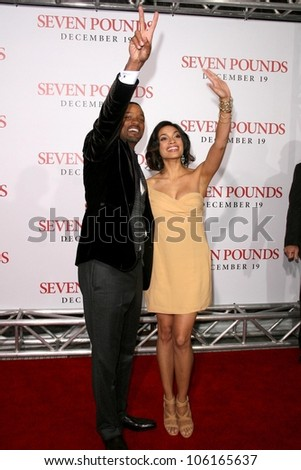 Will Smith and Rosario Dawson   at the Los Angeles Premiere of 'Seven Pounds'. Mann Village Theatre, Westwood, CA. 12-16-08 - stock photo