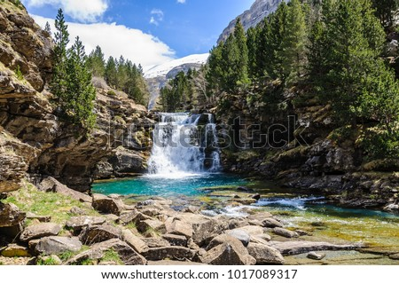 Will waterfall in Ordesa Valley in the Aragonese Pyrenees, Spain