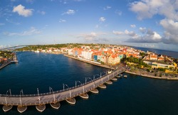 Willemstad, Curacao. Dutch Antilles. Colorful Buildings attracting tourists from all over the world. Blue sky sunny day Curacao Willemstad