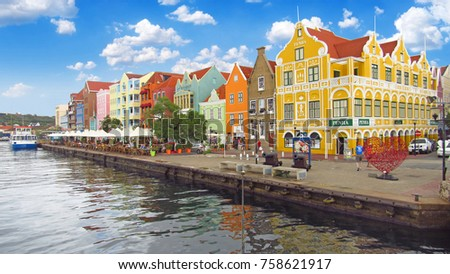 Willemstad, Curacao - March, 2017 : A view from Queen Emma Bridge, Willemstad, Curacao, Netherlands. Editorial Photo.