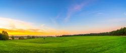 Willen Lakeside park at sunrise in Milton Keynes. England