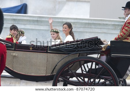William Lowther-Pinkerton, Lady Louise Windsor and Pippa Middleton return to Buckingham Palace the wedding ceremony of William and Kate, London. on 29/04/2011. Picture by: Steve Vas / Featureflash