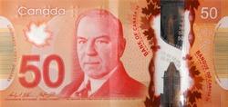 William Lyon Mackenzie King portrait on Canada 50 Dollars 2012 Polymer Banknote fragment