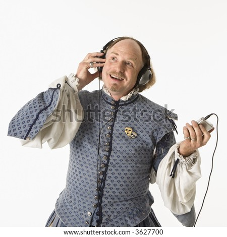 William Shakespeare in period clothing listening to mp3 player smiling.