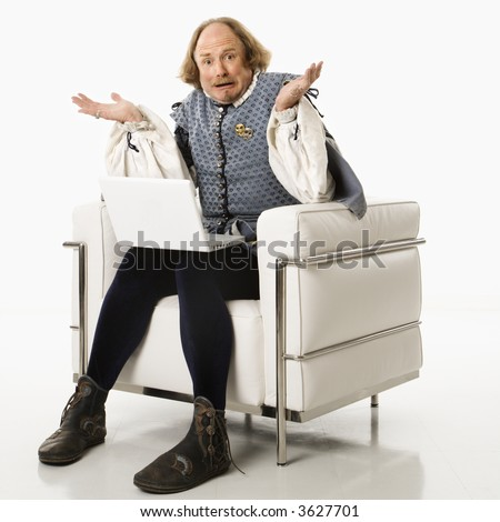 William Shakespeare In Period Clothing Sitting On Modern ...