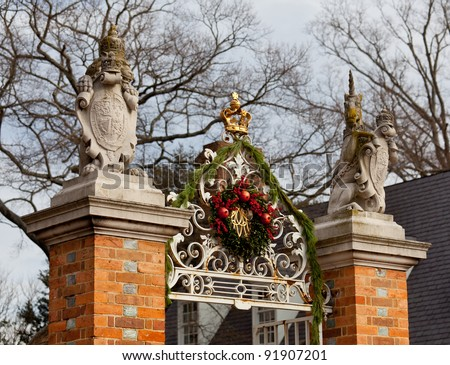 WILLIAMSBURG, VIRGINIA - DECEMBER 30: Colonial Williamsburg is decorated for the holiday season on December 30, 2011. The entrance to the Governor's Palace is hung with wreathes
