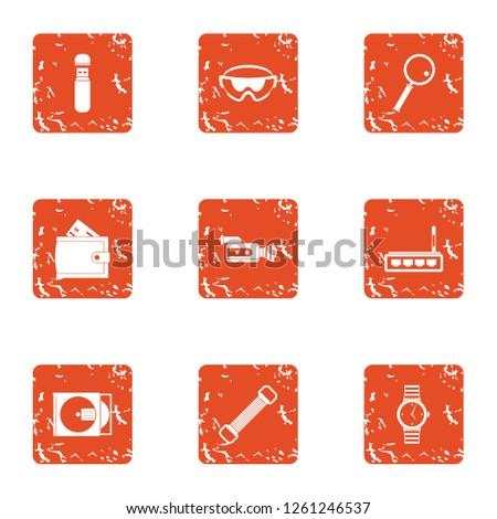 Willingness icons set. Grunge set of 9 willingness icons for web isolated on white background