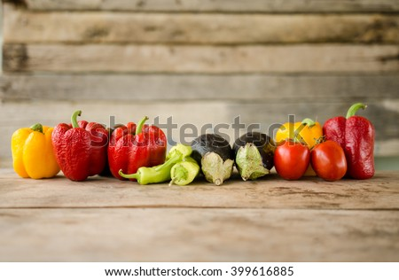Wilted vegetables on a wooden table Zdjęcia stock ©
