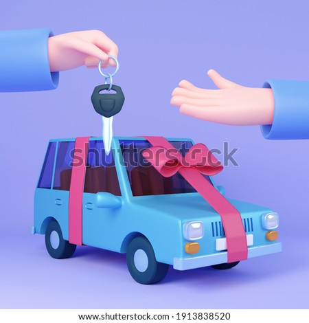 Win or gift a car. Automobile dealer, buy or rent car. Hand hold keys over car wrapped in ribbon. Modern 3D illustration