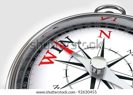 win the way indicated by compass conceptual image on white background