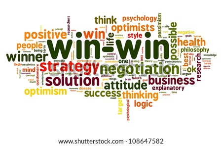 Win-win negotiation solution concept in word tag cloud on white background - stock photo