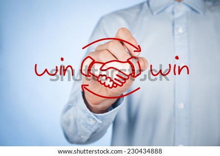 Win-win partnership strategy concept. Businessman draw win win scheme and handshake partnership agreement. #230434888