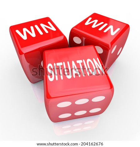 Win Win Situation words three red dice agreement or arrangement mutually beneficial