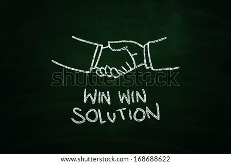 Win Win Solution Lettering, written with Chalk on Blackboard