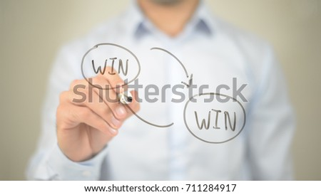 Win Win Strategy,  Man writing on transparent screen
