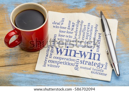 win-win strategy word cloud - handwriting on a napkin with a cup of coffee #586702094