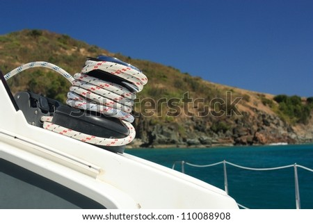 Winch and rope on sailing boat. Yachting. Detailed parts.