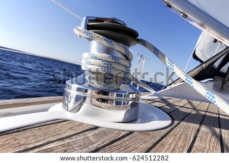 Winch on a sailboat while sailing