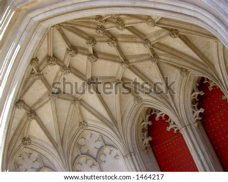 Winchester cathedral arches - stock photo