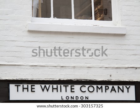 Winchester Market Street, Hampshire, England - July 31, 2015: The White Company of London ladies clothing retailer shop sign over store